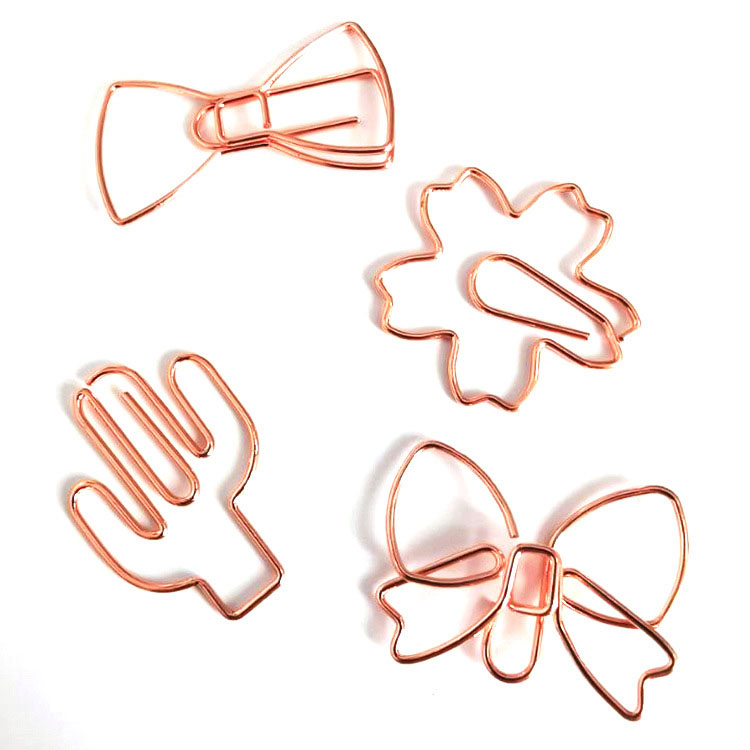 Hot sell high quality butterfly envelope cactus shape rose gold plastic metal paper clip