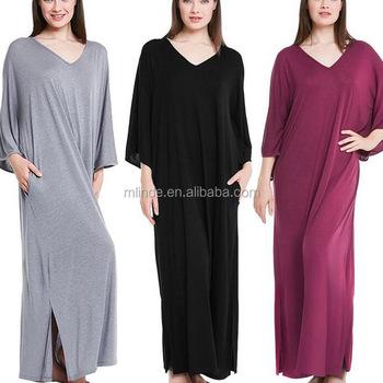 Apparel Wholesale Women Elegant Fancy 3 4 Sleeve Knit Nightgown Oversized  Design Loose Fit Sleep 240a2d7b85