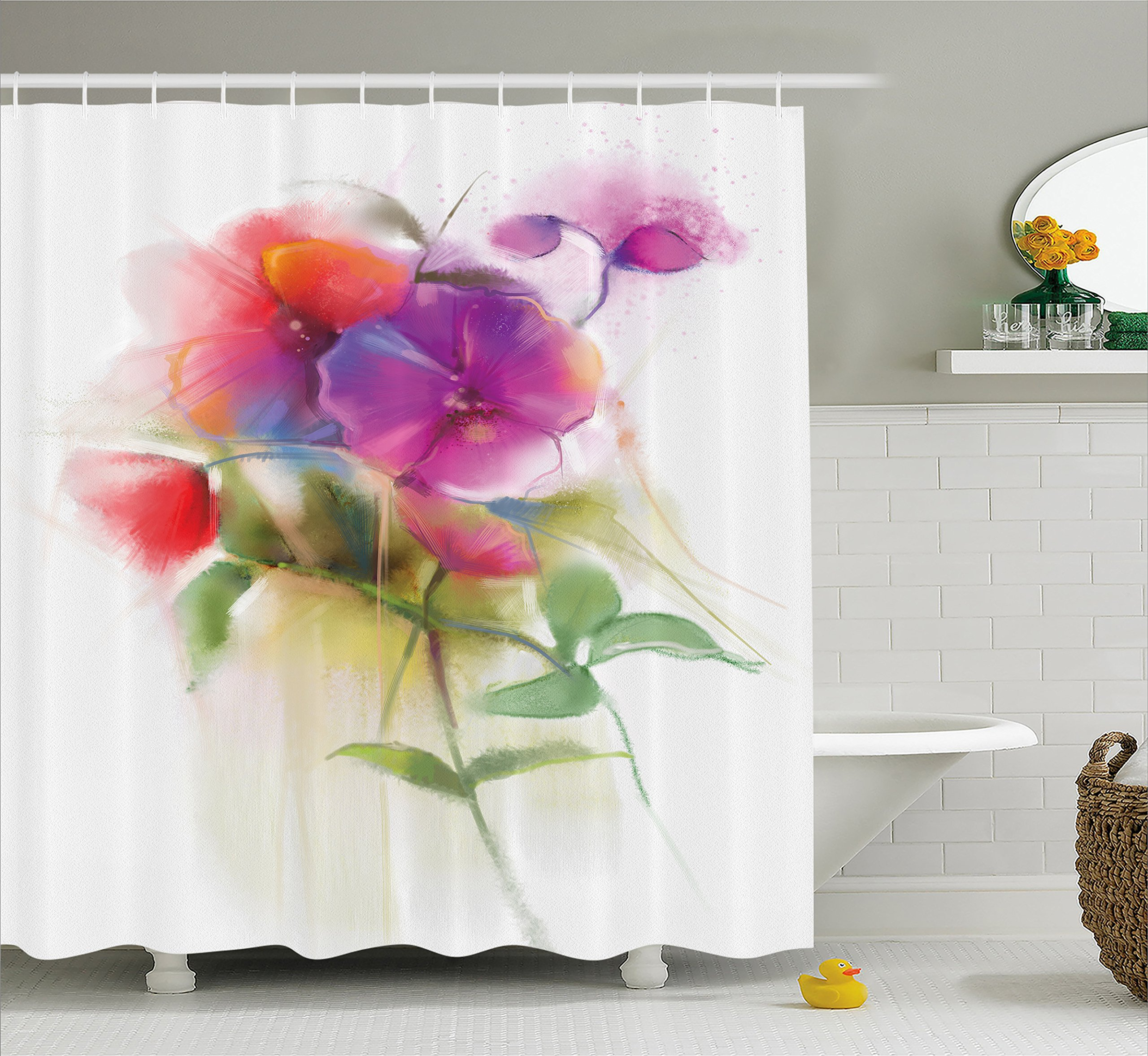 Ambesonne Watercolor Flower Home Decor Shower Curtain, Blooming Orchid Spring Bouquet Romance Natural Beauty Fragrance, Fabric Bathroom Decor Set with Hooks, 75 Inches Long, Purple