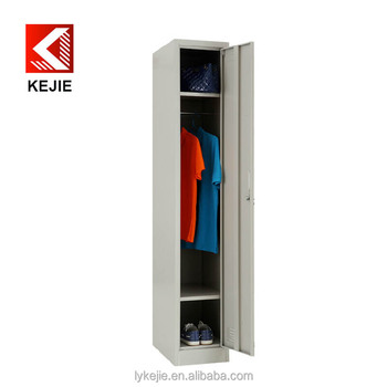 Single Door Metal Storage Cabinet Vertical Steel Locker Vintage Cabinets