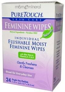 PURETOUCH SKIN CARE WIPES,FEMININE,FLUSHABLE, 24 CT by Pure Touch Skin care
