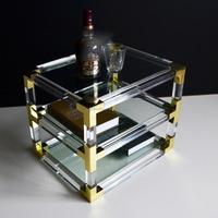 Clear acrylic cube 2 layers coffee tables with metal from shenzhen yidong