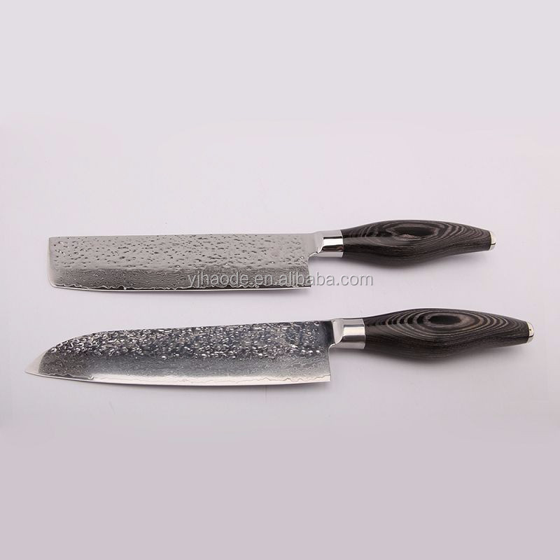 Low MOQ wholesale price Japanese style VG10 damascus steel santoku knife with wooden handle