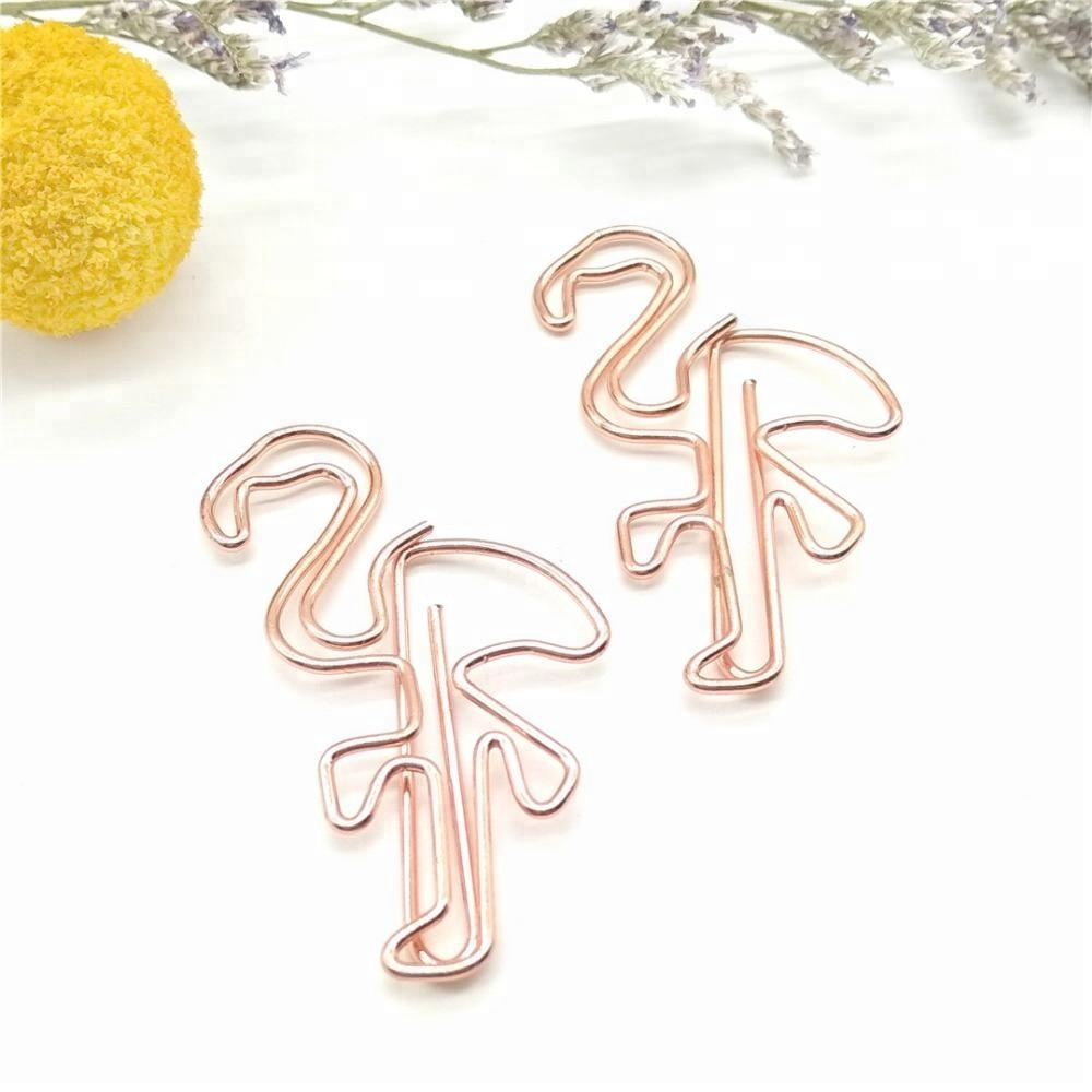 Supply 2018 gift metalen dier vormige rose goud paperclips