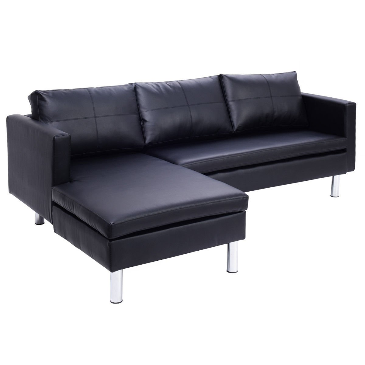 Get Quotations · Giantex Black 3 Leather Seat Sofa And Chaise Lounge Modern  Furniture Slipcover