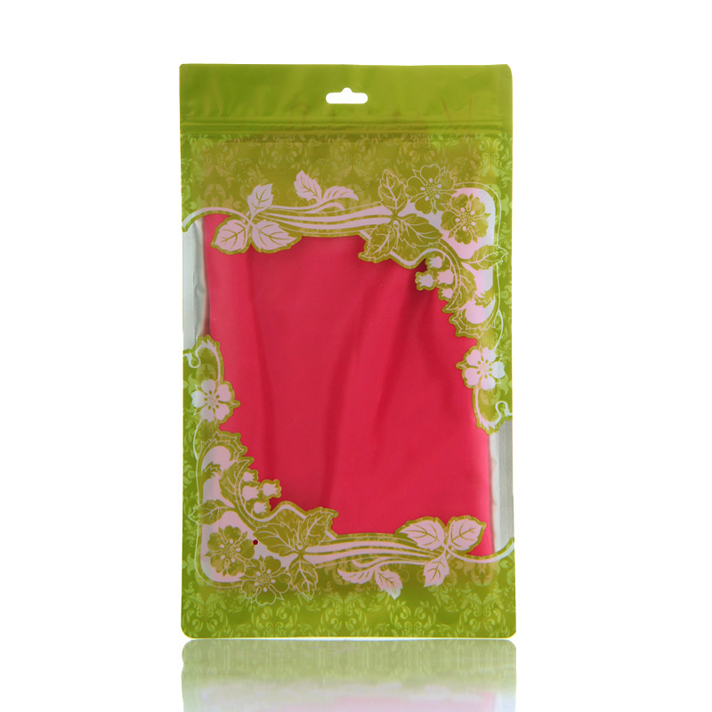 custom made special printed resealable plastic skirt / dress packaging bag with zip lock with hang hole