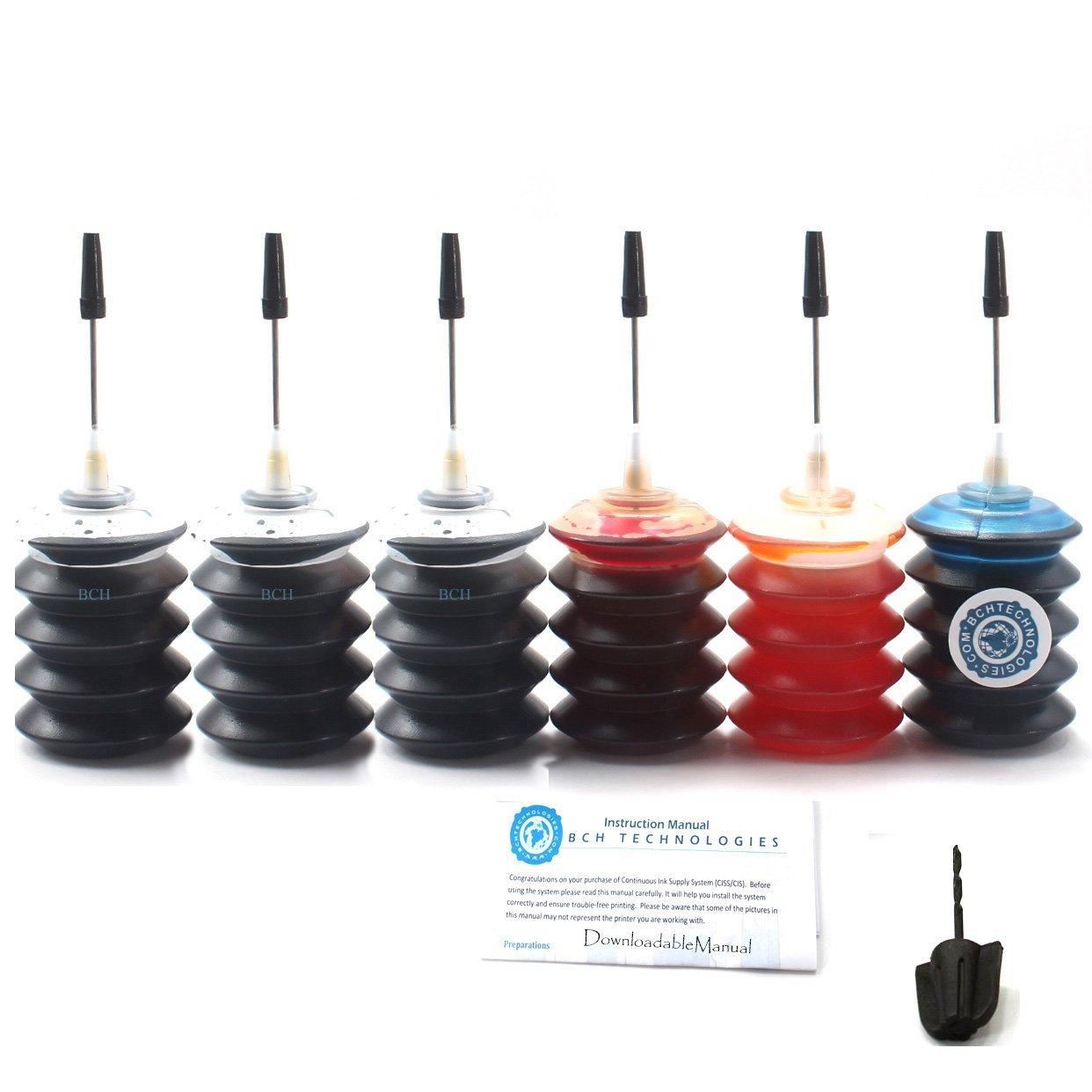 BCH Dye Ink Cartridge Refill Kit for HP 21 56 27 60 61 92 94 96 901 74 XL 6-Bottle Combo: 3 x Black + 1 Each of Cyan Magenta Yellow ID30-KKKCMY