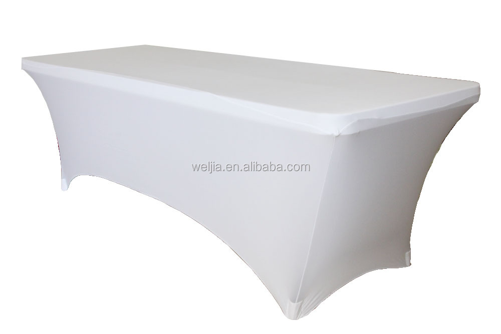 6ft Rectangular Stretch Tablecloth White For Folding Tables