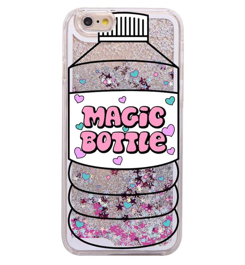 Glitter Liquid Pink Unicorn Magic Bottle Cartoon Hard Case Coque Fundas Capa Para For iPhone 7 7Plus 6 6S 6Plus 5 SE 8