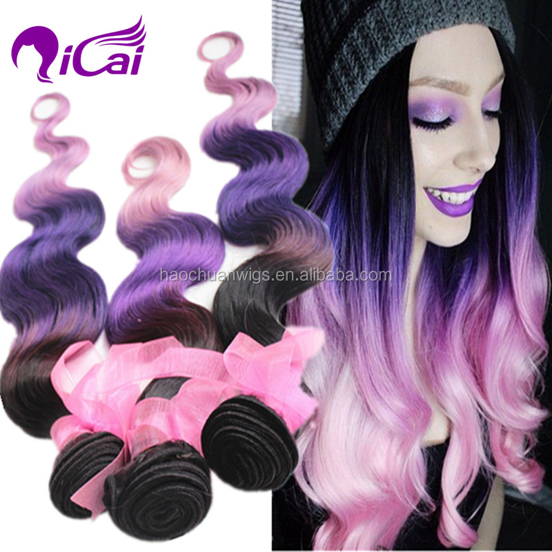 Ombre 3 Tone 1b Purple Pink Brazilian Virgin Remy Human Hair