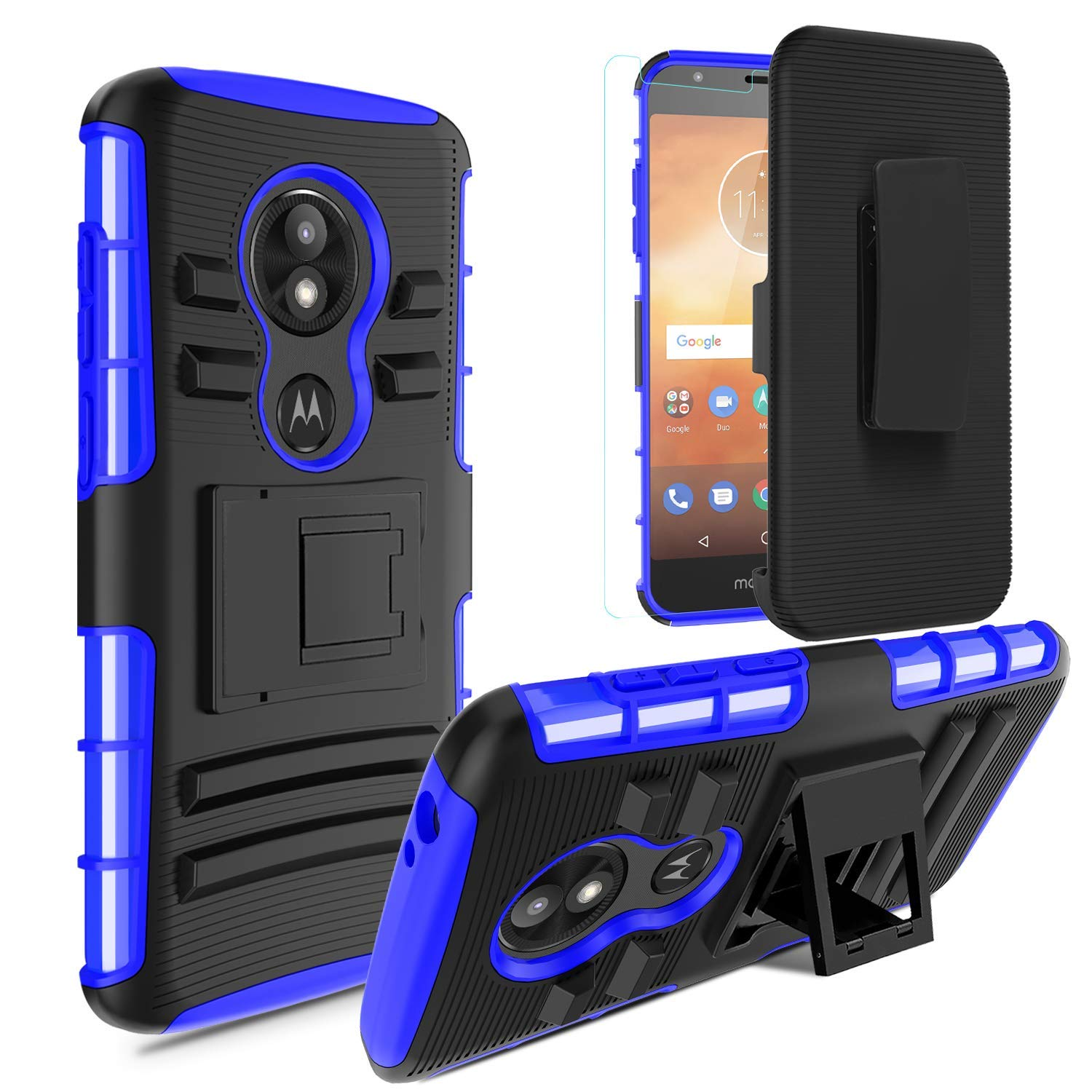 Moto E5 Play Case,Moto E5 Cruise/Moto E Play 5th Gen Case w/Tempered Glass Screen Protector,Heavy Duty Hybrid Shockproof Protective Case w/Swivel Belt Clip Holster Kickstand Men/Women/Boys,Blue