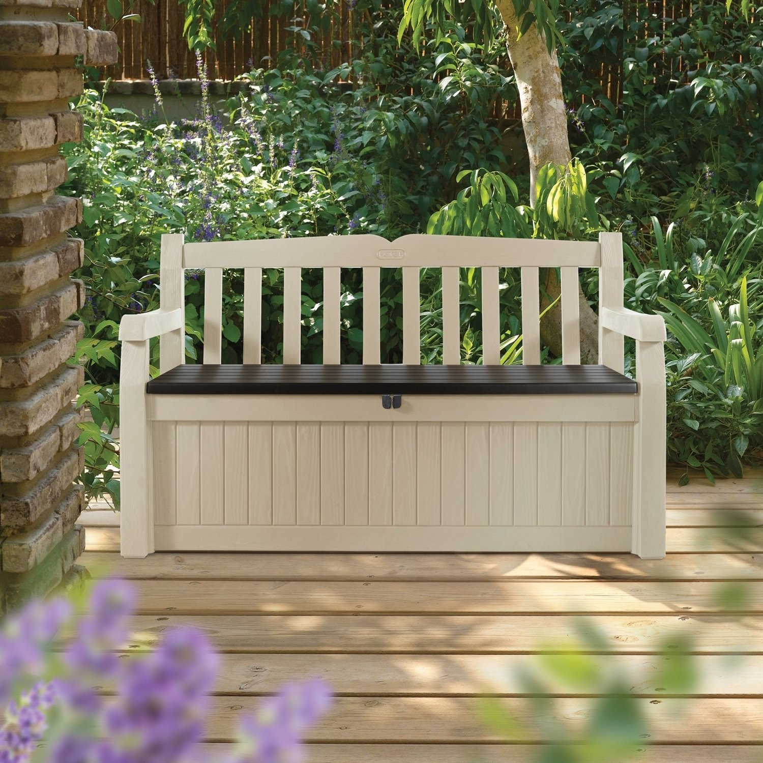 Beige Resin Eco Friendly 70 Gallon Outdoor Garden Bench Deck Box