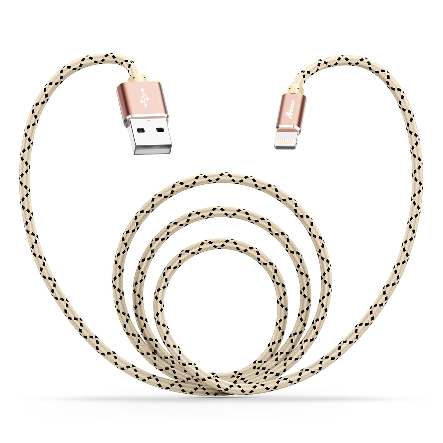 Lightning USB Cable, Aimus 6Ft Nylon Braided Fast Charging Cable Cord with Aluminum Housing for iPhone 7/7 Plus/6/6S/6 Plus/6S Plus/5/5S/5C/SE, iPad Mini 2 3 4 Air iPod and More, Gold