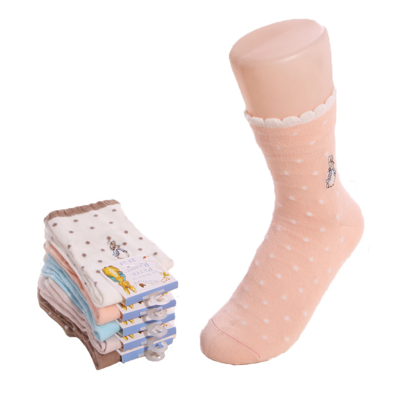 New 2015 Spring Women Cotton Socks Fashion Cute Small Dots Sock Women Lace Socks Casual Women Winter 5pairs/lot