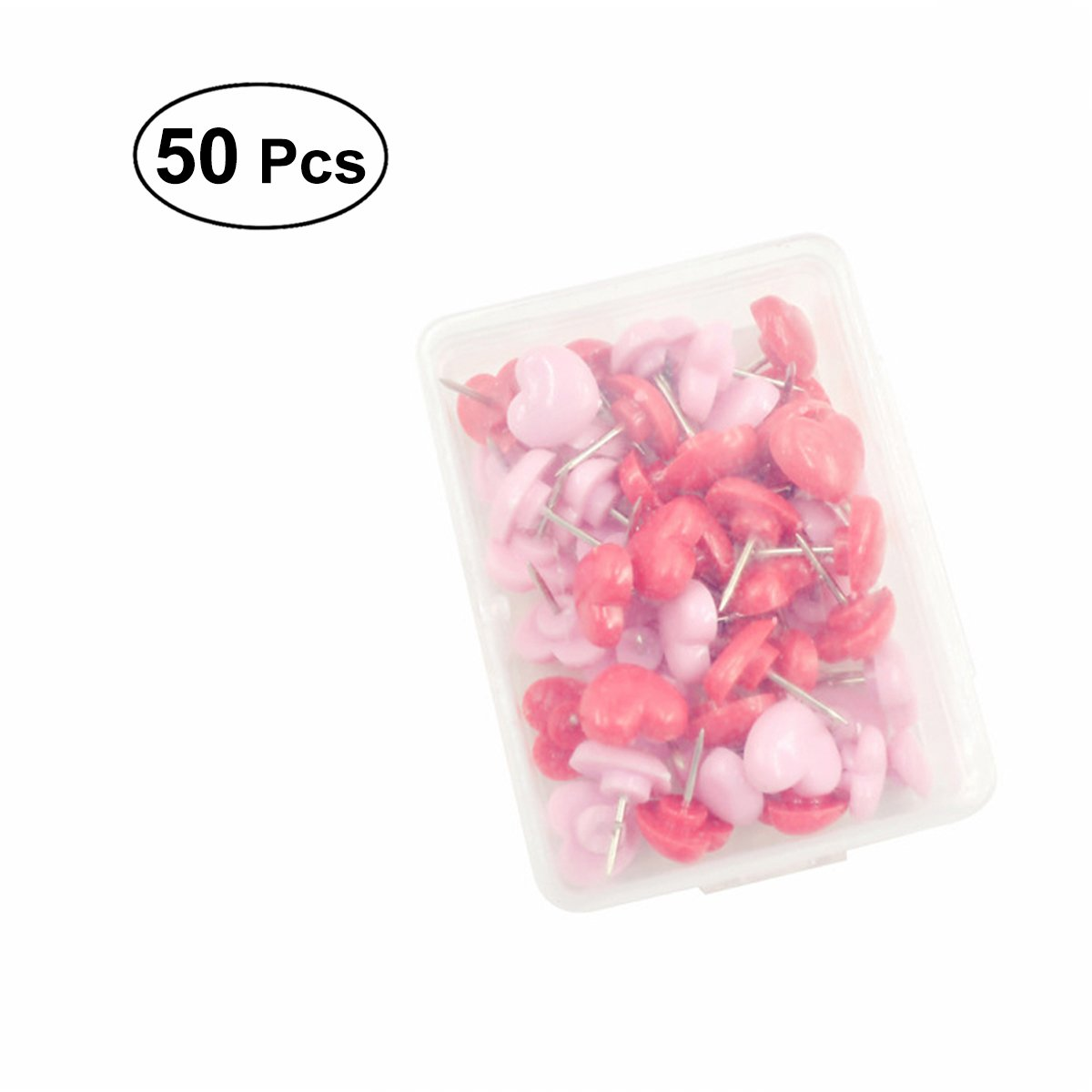 NUOLUX 50Pcs Cute Heart Push Pins Pink Red Wall ThumbTacks Decorative for Cork Board Home and Office