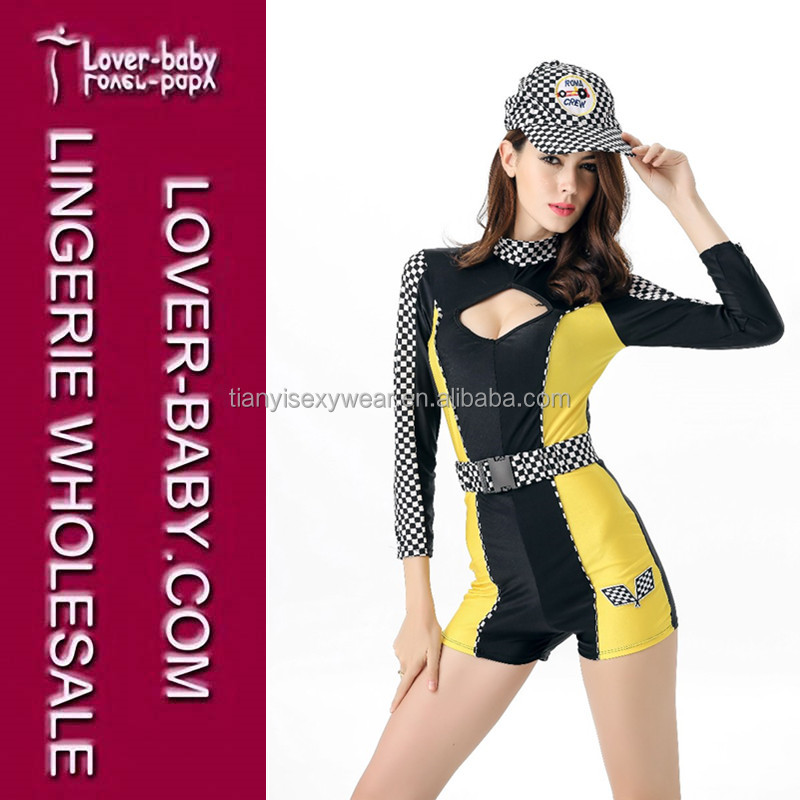 Responsible Women Sexy Race Car Driver Costume Racing Girl Jumpsuit Car Game Long Sleeves Uniform Reliable Performance Women's Costumes