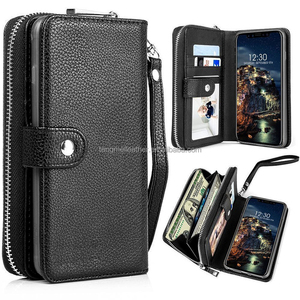 Magnetic Detachable Removable Wallet Zipper PU Leather Folio Flip Carrying Case for iPhone X with Strap and Credit Card Slot