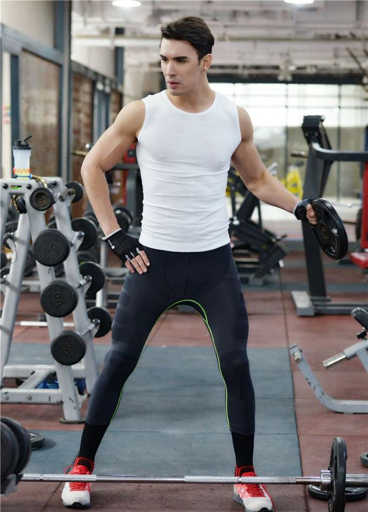 The new men's body sculpting pants soft breathable comfortable breathable quick-drying seven-point pants MA08