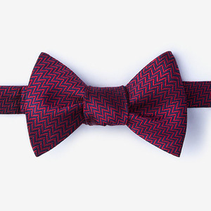 polyester handmade wedding burgundy self tie bowtie for men