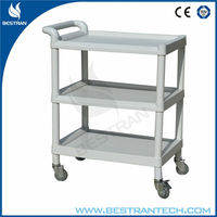 China BT-UY002 Cheap ABS plastic utility cart three layers medical trolley with lockable wheels