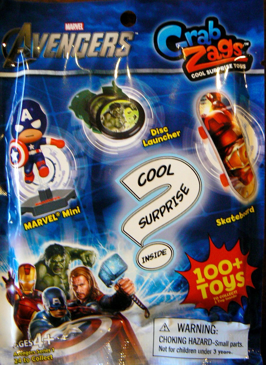 Marvel Avengers Grab Zags (1) Random Pack. Each pack contains (1) surprise toy. It will be either a Skateboard, Disc Launcher, or Mini Figure.