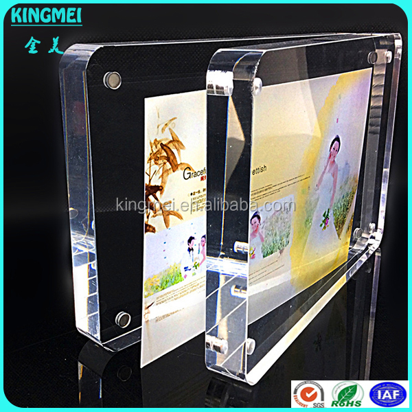 KM-CP29 Hot Sale double sided Acrylic Photo Frame with magnets, Crystal Clear Plastic Magnetic Photo Block Frame