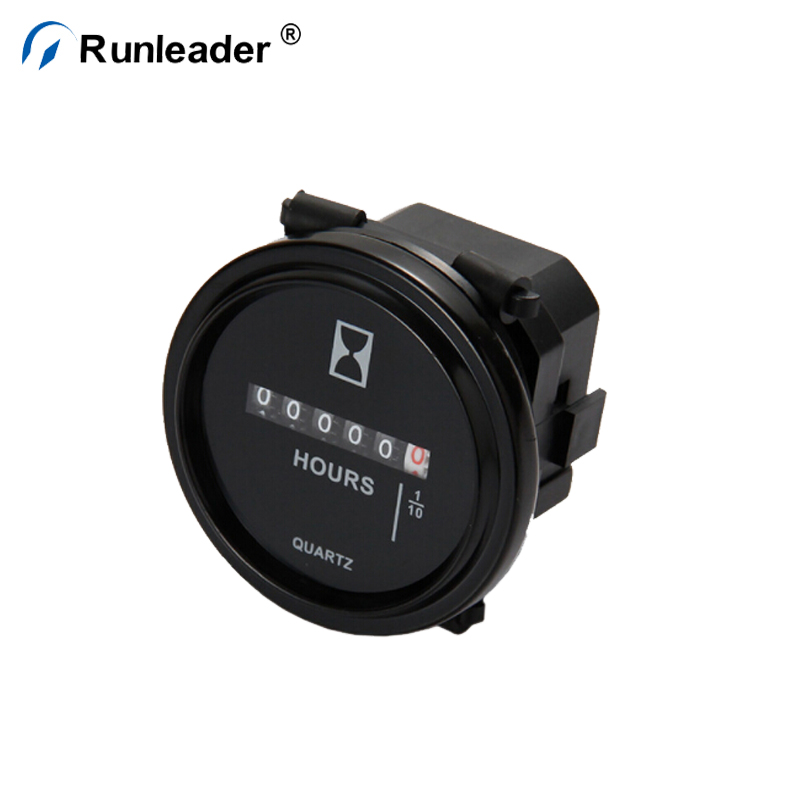 Runleader Round Mechanical Engine Hour Meter For Generator Boat Snowmobile Lawn Mower Utility Tractor Vehicles
