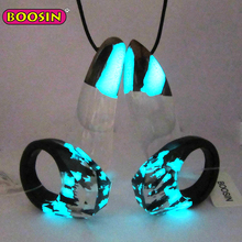 Fashion design jewellery 100% unique wood resin jewelry set necklace jewelries women glow in the dark