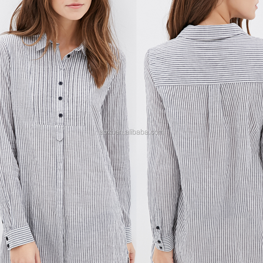 OEM high quality Adults Age Group and simple long sleeve casual checked dress
