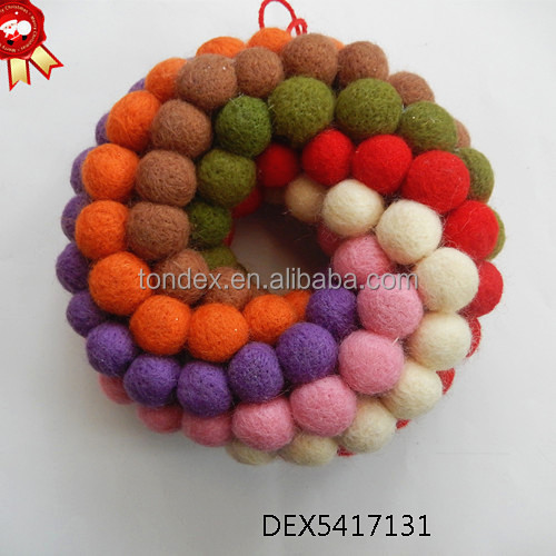 Magnificent ornamental christmas felt ball garland