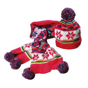 cute customized printing fashion fleece children's matching hat glove scarf combo set/ winter baby headwear