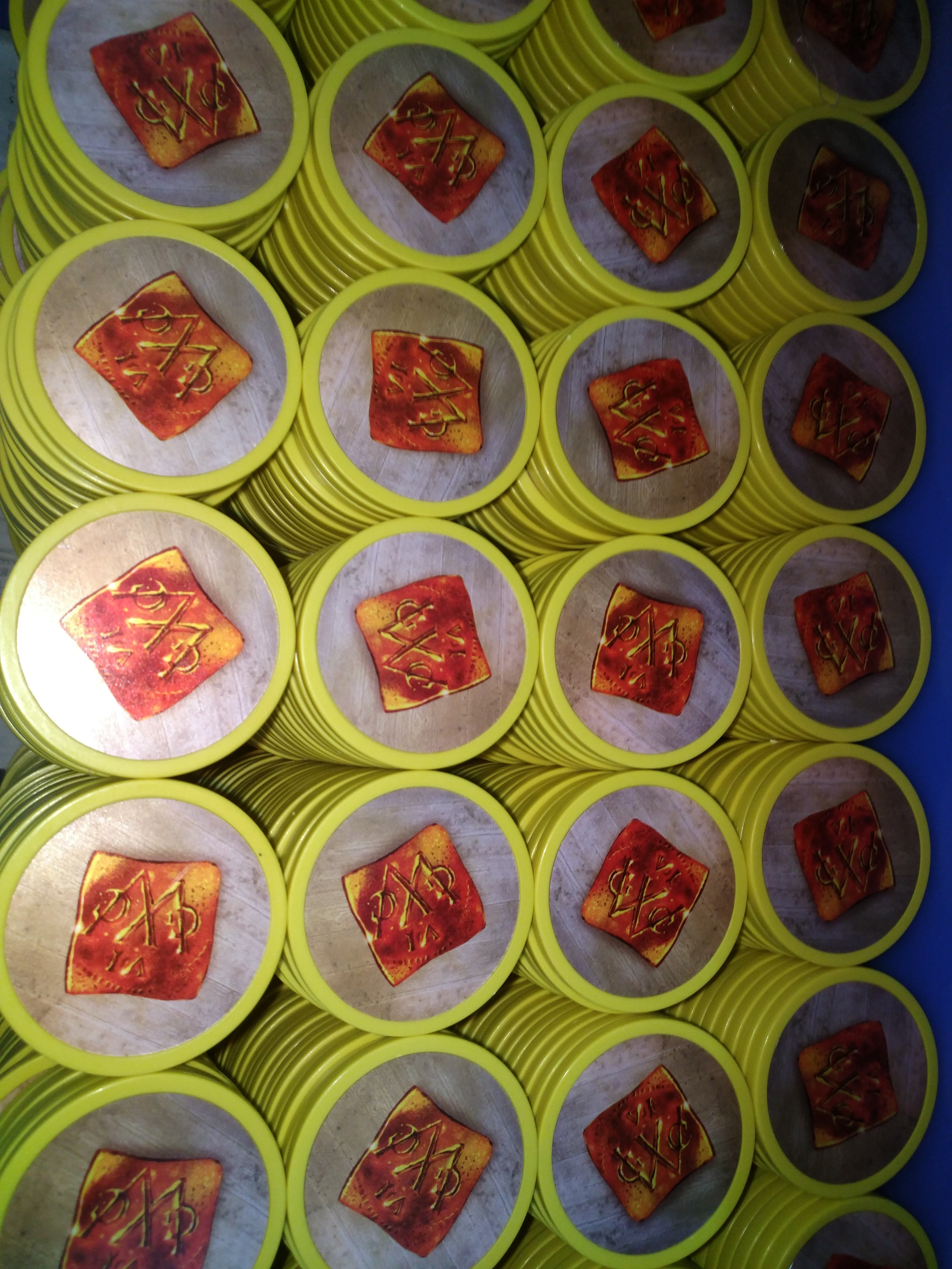 11.5G plastic jetons met stickers inlay