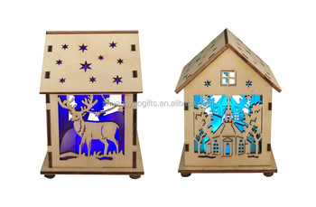 Wooden christmas led light small house decoration xmas gifts for
