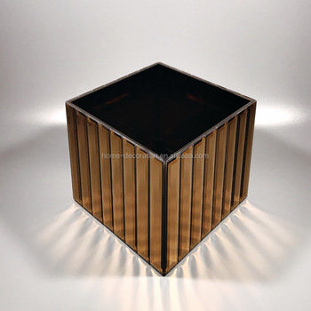 Wholesale Wedding Brown Mirror Cube Vase With Low Moq Buy Mirror