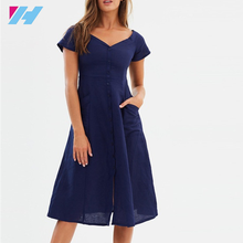 2018 Nieuwe Stijl Zomer Casual Effen Navy Sexy V-hals <span class=keywords><strong>Fashion</strong></span> Korte Mouwen Party Vrouw Jurk
