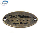 Oval Antique Brass Sewing Metal Name Tag Custom Logo Engraved Metal Label Tags
