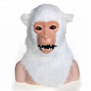 White macaque moving mouth mask with fur covered for Party and Halloween fun