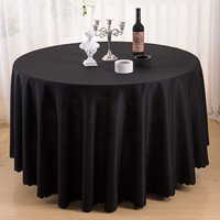 cheap black 108 inch round polyester church pulpit tablecloth