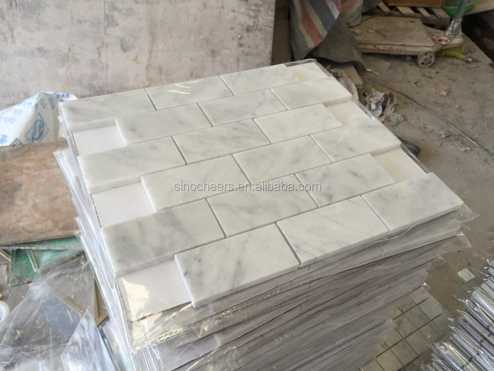 Mm bianco carrara bianco marmo mosaico di pietra per parete