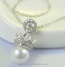 Crown Zirconia and Pearl 925 Sterling Silver Pendant Necklace