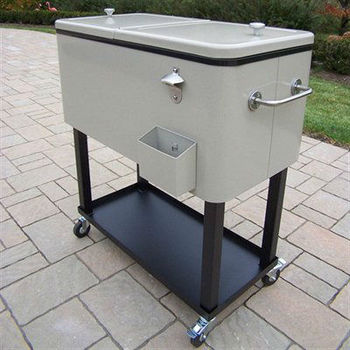 Metal Rolling Patio Mobile Wine Ice Chest Cart Patio Cooler Box With Wheels