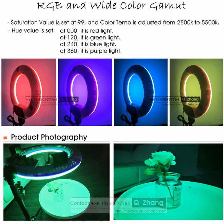 Anillo bi-color LED luz continua video artista de maquillaje iluminación de fotografía