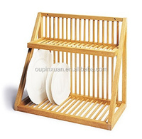 hot selling bamboo plate storage rack kitchen dish drying drainer rack Traditional Wooden Plate Rack