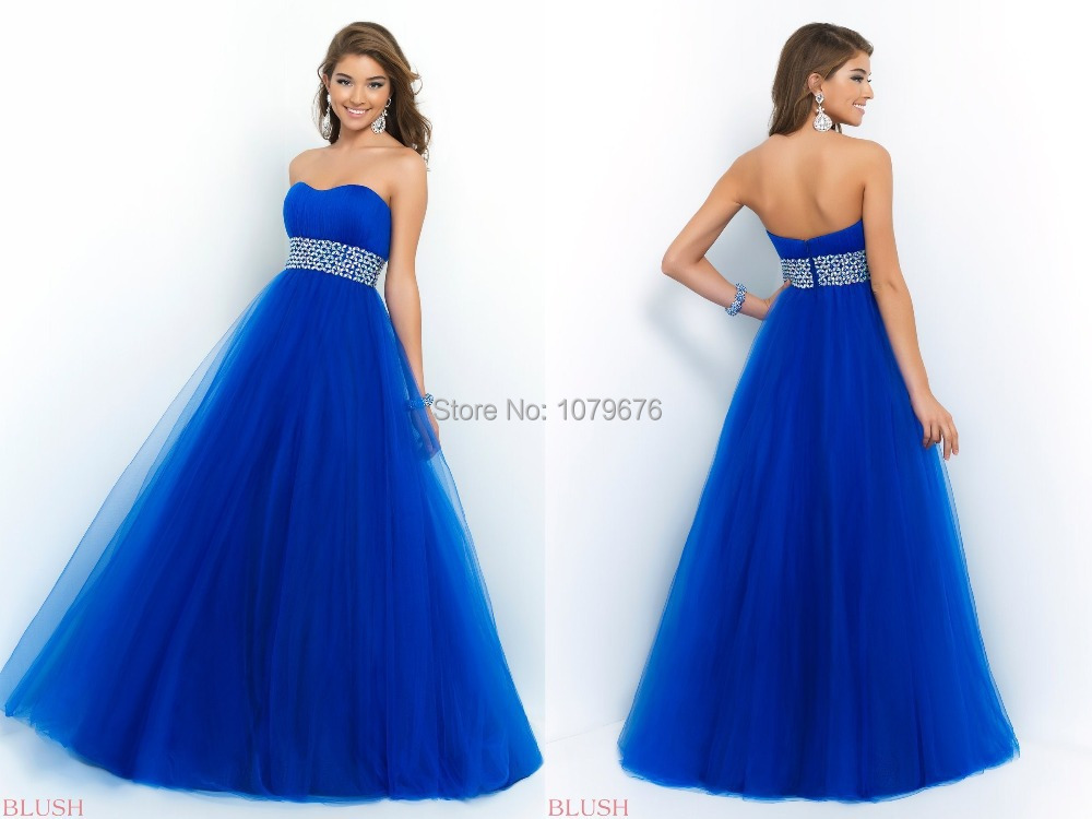 e9c3cb0f12 Get Quotations · Hot Sale Royal Blue Long Strapless Party Dresses A Line  Crystal Beading Tulle Prom Gowns Plus