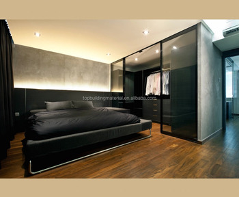Modern black wardrobe cabinet glass sliding door bedroom closet