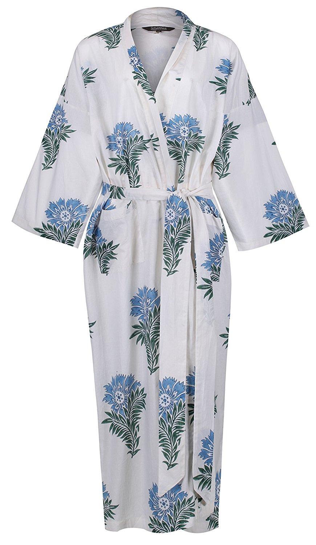 Get Quotations · Women s Kimono Cotton Robe Bathrobe Long Dressing Gown  Bridesmaid 100% Organic Lightweight Cotton  White 4d82e27e7
