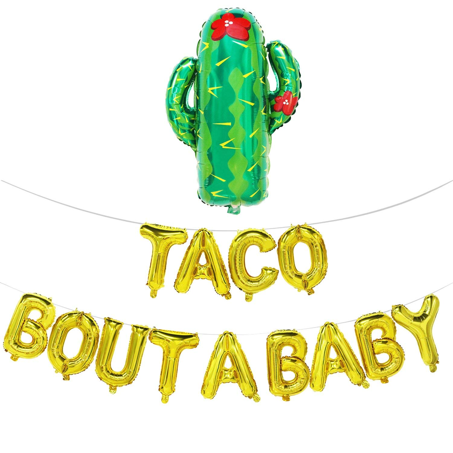 Taco Bout A Baby Balloons Letters with Cactus | Fiesta Theme Baby Shower Decorations | Baby Shower Banner | Pregnancy Announcement, Baby Announcement, Gender Reveal Party Supplies | Gold, 16inch