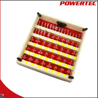 POWERTEC 50PC Router Bit Set Round Beading Over Router Bit