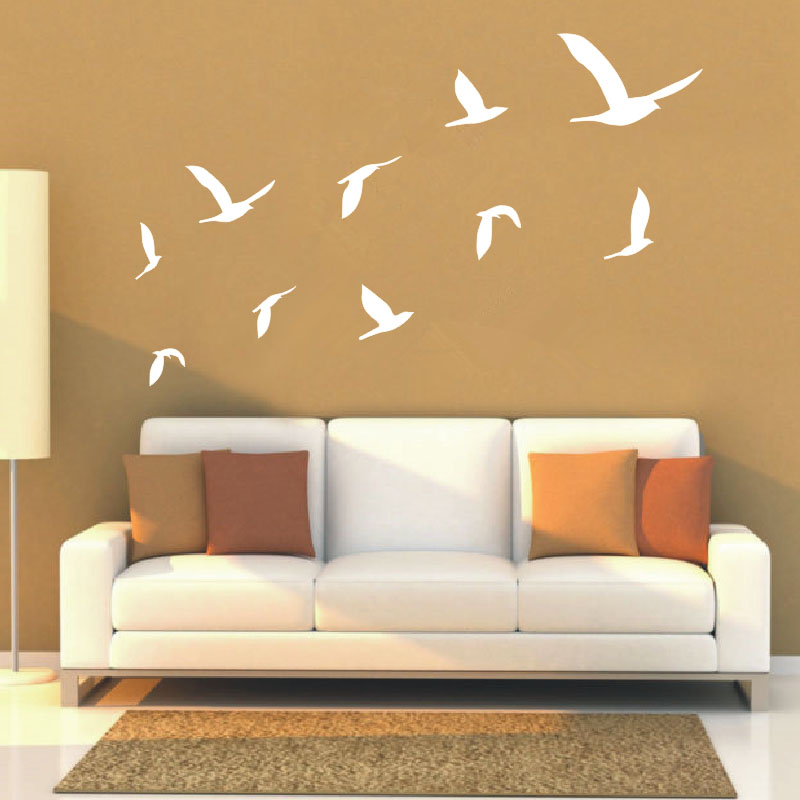 2016 hot ten geese flying decals living room wall art - Wall sticker ideas for living room ...