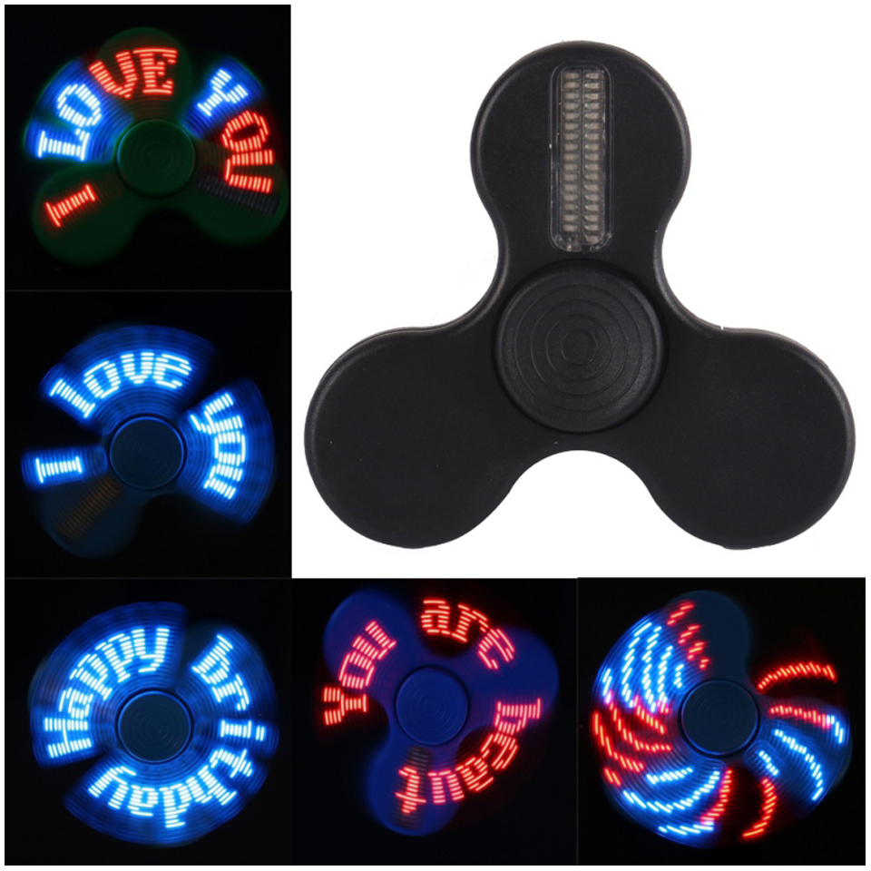 Reprogram Fidget Toy LED Smart Finger Spinner with LED light Words Pattern APP